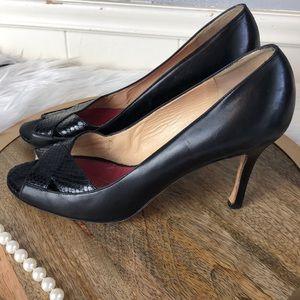 KS Leather classic peep toe snake skin 8 1/2W